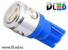Светодиодная лампа W5W T10 – 1 HP + 3 Mini Hp 2.5Вт Синяя