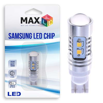 Светодиодная лампа W5W T10 – Max-Samsung Chip + Линза 10Вт Белая