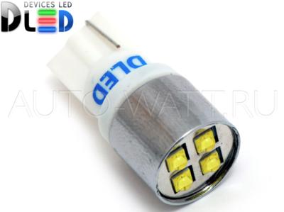 Светодиодная лампа W5W T10 – 4 CREE 20Вт Белая