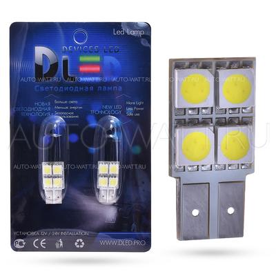 Светодиодная лампа W5W T10 – 4 SMD5050 0.96Вт Белая