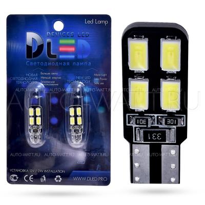 Светодиодная лампа W5W T10 – 4 SMD5630 Односторонняя Обманка 1.6Вт Белая