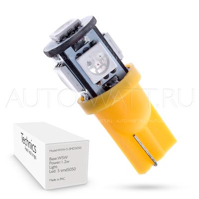 Светодиодная лампа W5W T10 – 5 SMD5050 1.2Вт Жёлтая