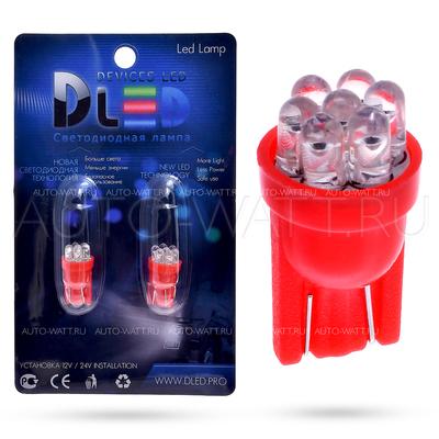 Светодиодная лампа W5W T10 – 7 Dip Led 0.4Вт Красная