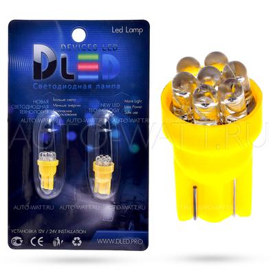 Светодиодная лампа W5W T10 – 7 Dip Led 0.4Вт Жёлтая