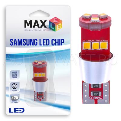 Светодиодная лампа W5W T10 – Max-Samsung 9Led 9Вт Белая