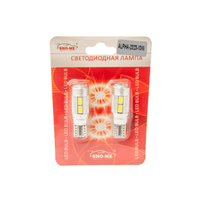 Светодиодная лампа W5W T10 - SHO-ME T10 - ALPHA 2323 - 10W Белая