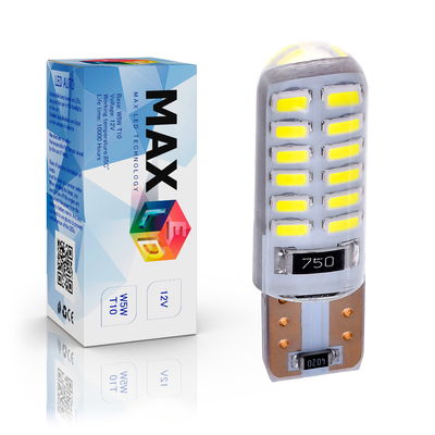 Светодиодная лампа W5W T10 – Max-Lendigo Silica 24Led 3Вт Белая